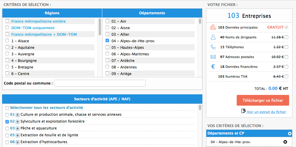 screenshot Fichier.com - recherche de propects